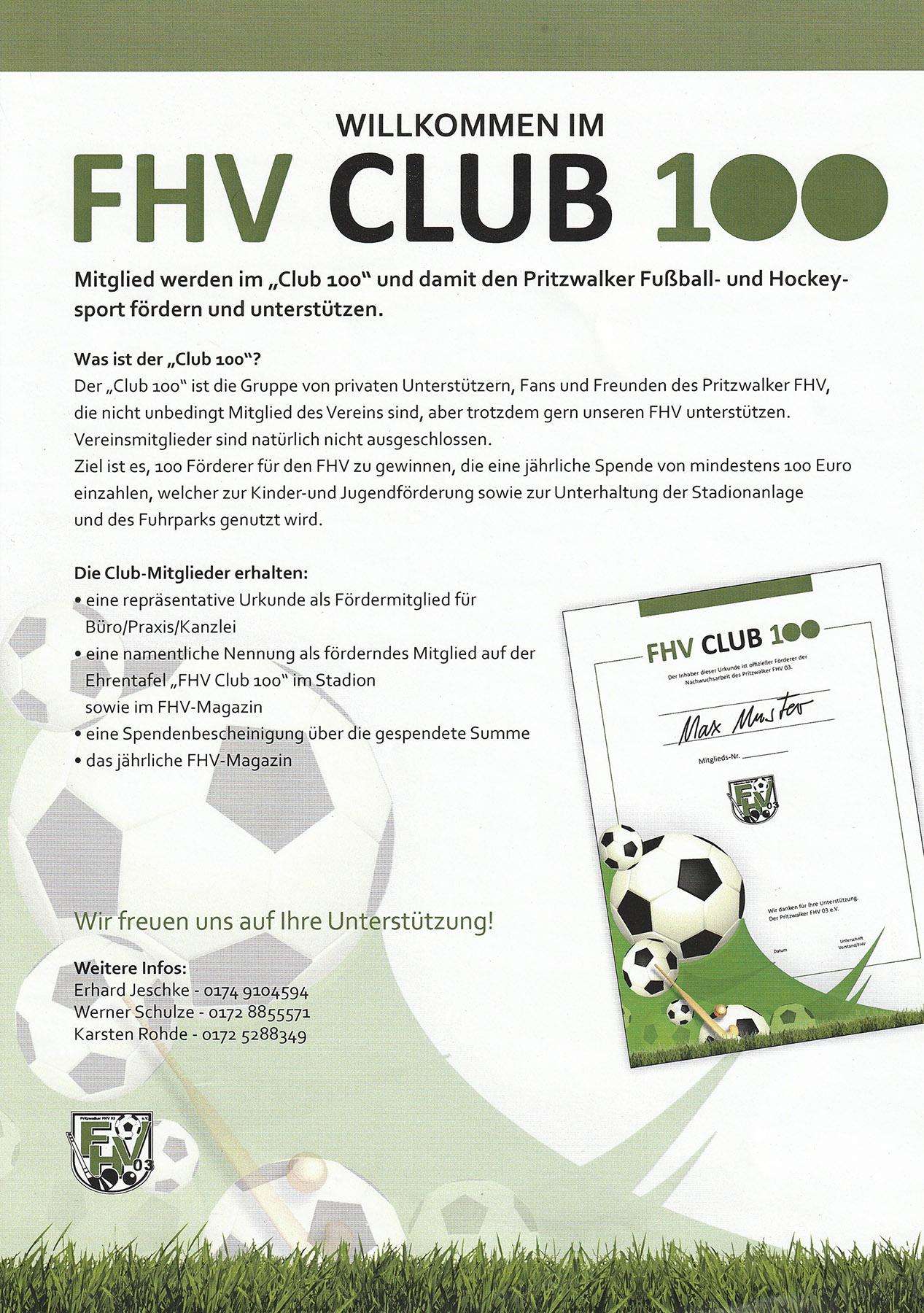 Club 100 Infos Rund Um Den Pritzwalker Fhv 03 Fussball